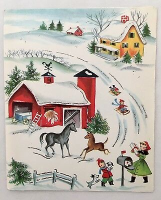 Vintage Christmas Card People Mailbox Red Farm Horse Dog House Snow Tree Dress