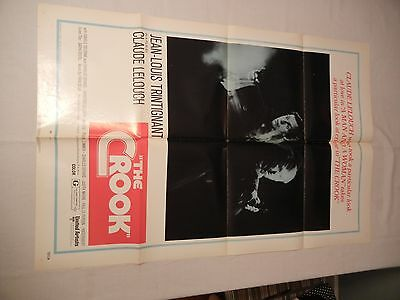 Vintage 1971 THE CROOK One Sheet Movie Poster 27 x 41 CLAUDE LELOUCH