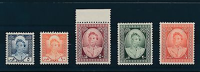 IRAQ 1949 UNMOUNTED MINT VF...BOY KING FAISAL REVENUES 5 VALUES to 1/2 Dinar