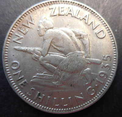 New Zealand 1935 KGV One Shilling Silver Coin XF Nice
