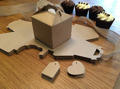 Eco Kraft Natural Cake / Gift Boxes, Wedding Favour - Includes Tags - FREEPOST
