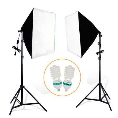 2x200W Continuous Bulb Studio Video Light Stand Softbox Lighting Kit Photography