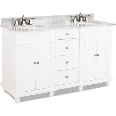 """60"""" Modern Classic White Double Bathroom Vanity With White Marble Top & Sinks 60"""