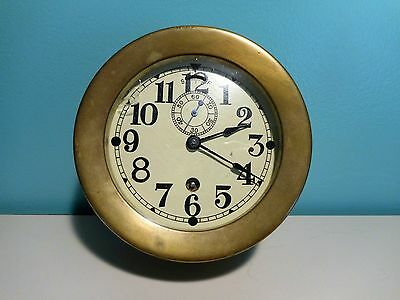 Antique Seth Thomas Brass Ship's Clock Maritime / Working Condition / Original