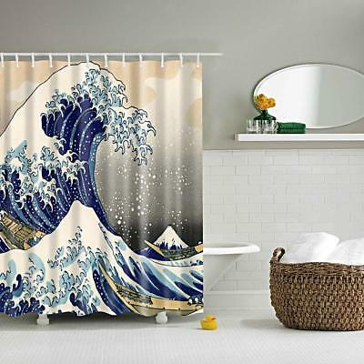Retro Shower Curtain Liner Bath Accessories Fabric Drapes Sea Wave Hooks 71""