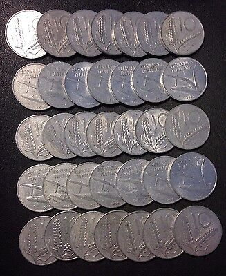 Old Italy Coin Lot - 10 LIRE - 35 Excellent Coins - Unsearched - Lot #F16