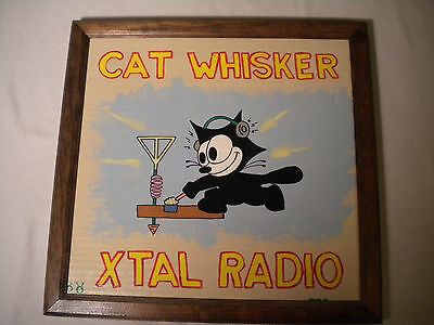 Vtg Folk Art Hand Painted Cat Whisker Xtal Ham Amateur Radio Felix Painting 1995