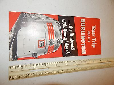 1950's BROCHURE BURLINGTON ROUTE YOUR TRIP RAILROAD WITH YOUNG IDEAS ADVERTISE