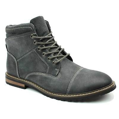 Grey Boot Ankle Cap Toe Derby Modern Lace Up Round Toe By AZAR MAN
