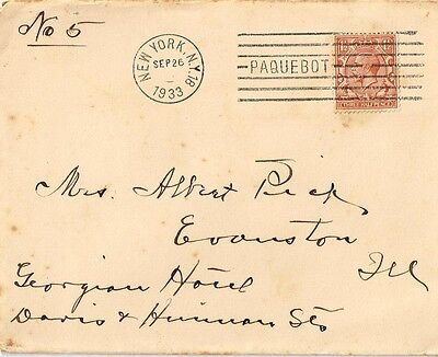 1933 Paquebot cover to Evanston, IL on Cunard stationary
