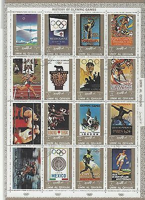 Umm Al Qiwain - History of the Olympic Games sheet of 16 stamps - used