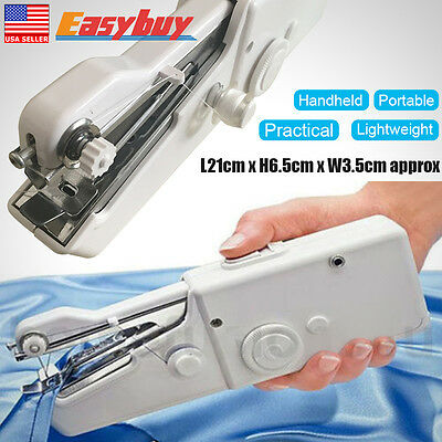 Mini Portable Sewing Machine Cordless Handheld Single Stitch Fabric Travel Home