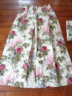 Vintage Pair Shabby Pink Rose Floral Curtains