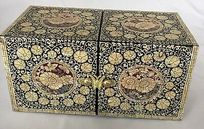 #1109  jewellery box mother of pearl inlaid lacquer light gold petals,butterfly