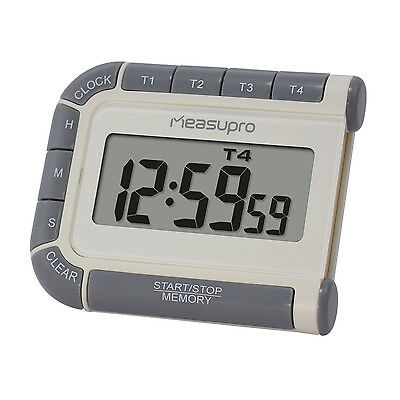 MeasuPro CCT400 Digital Timer, Clock, and Stopwatch with Four Channels