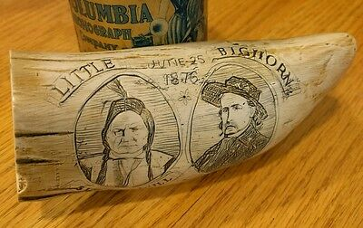 Antique Custer at Little Big Horn SCRIMSHAW ETCHED RESIN TOOTH Sitting  Bull~