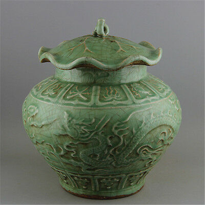 A Great Chinese Antique Song Longquan porcelain Two Dragon Pot