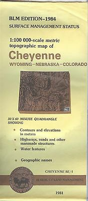 USGS BLM edition topographic map Wyoming NE CO CHEYENNE 1984