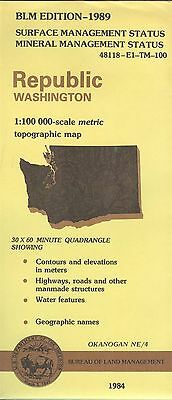 USGS BLM edition topographic map Washington REPUBLIC 1989 mineral