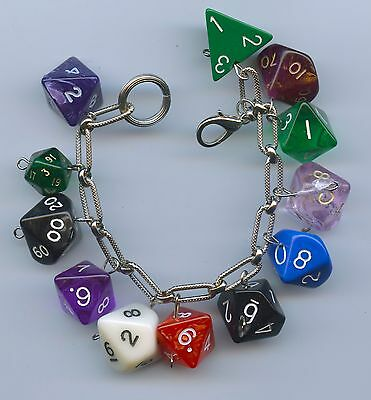 Role Playing Dice Charm Bracelet Handmade Recycled Items Some Dungeons & Dragons