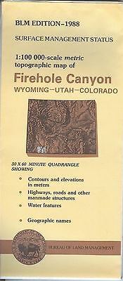 USGS BLM edition topographic map FIREHOLE CANYON Wyoming 1988 WY UT CO
