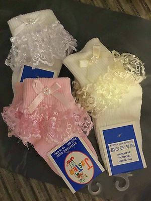 Frilly Lace Baby Girls Socks Pearl Ribbon Baby Socks Cream White Pink 000 to 3.5
