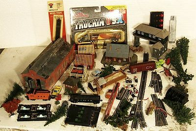N ScaleBuilt Buildings Truck Trees 3 Freight Cars 3 Switches ...Scroll Down