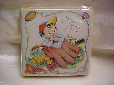 Vintage 1950's Rare Baby Boy Birth Announcement Card Sterling Greeting Co 15 pcs