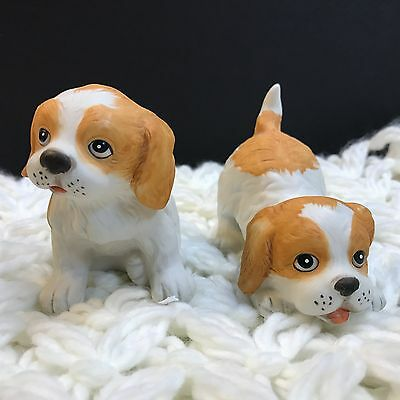 2 Homco Puppy Figurines Porcelain Spaniel Spotted Playful & Sitting