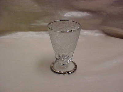 '30's Paden City Glass Paradise Flower Bird Etched Juice Tumbler Footed Platinum