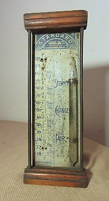 antique late 1800's Standard Chas E. Large wood tin lithograph glass barometer