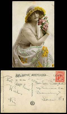 Glamour Lady Glamorous Woman Hat Dress Fashion Rose Flowers Old Colour Postcard