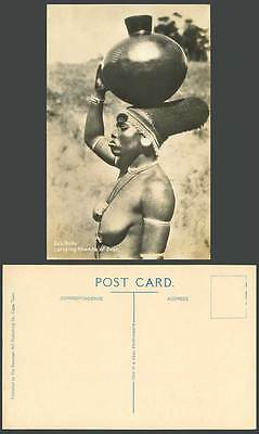 South Africa, Zulu Bride Carrying Khamba of Beer Native Black Woman Old Postcard