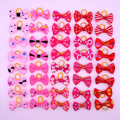 Mix Color New Pet Dog Hair Bows Bowknot Red Rose Pink Pet Grooming bows Topknot