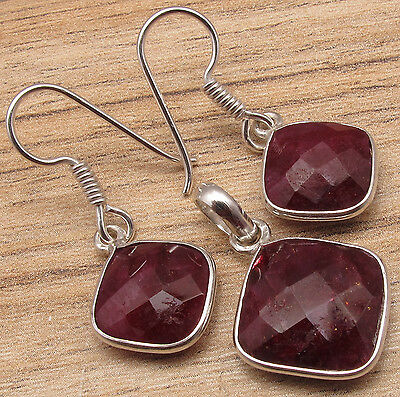 925 Sterling Silver Plated Earrings & Pendant Matching SET, RUBY Cushion Stones