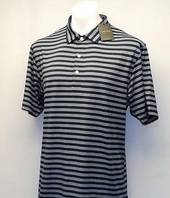 New Mens Dunning Golf golf polo shirt Large Halo Navy Striped