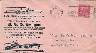 1942 Launching of USS Lexington - Aircraft Carrier cover