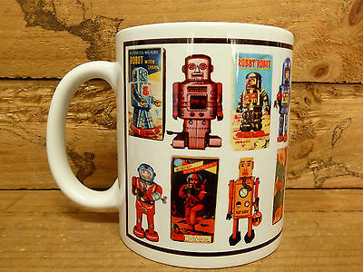 300ml COFFEE MUG, VINTAGE TIN ROBOTS