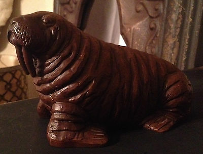 Vintage Red Mill MFG Walrus Figurine Molded Resin Sculpture Crushed Pecan Shells