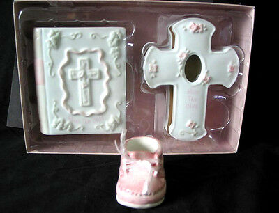 NIB 3 Piece Set Bless This Child Russ Pink Baby Bank Cross Shoe Birth Girl EXCEL