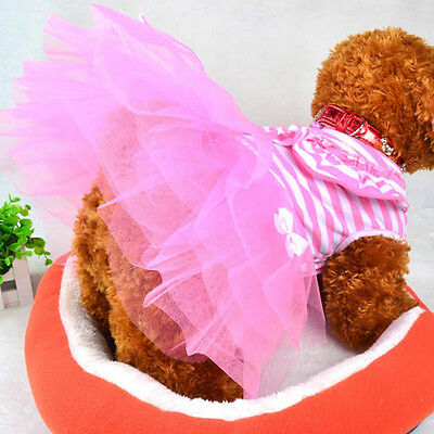Pink Small Dogg Clothes Cute Pet Dog Puppy Stripe Bow Lace Tutu Dress Skirt S