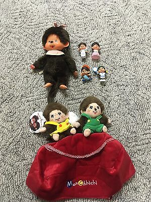 Vintage Mon Chhichi Doll And PVC Figures Plus Newer Doll With Tags Japan 1970's