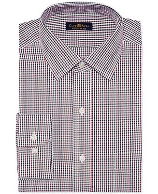 Club Room NEW Red Mens Size 17 1/2 Checkered Button Down Dress Shirt $52 157