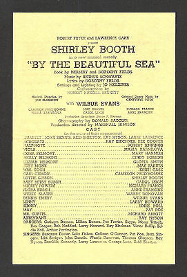 """Shirley Booth """"BY THE BEAUTIFUL SEA"""" Wilbur Evans 1954 Tryout Broadside"""
