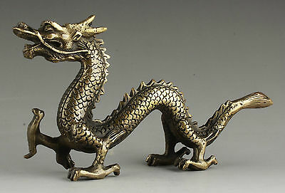 OLD Collectable Handmade Carving Bronze Lifelike Dragon Statue Decorations
