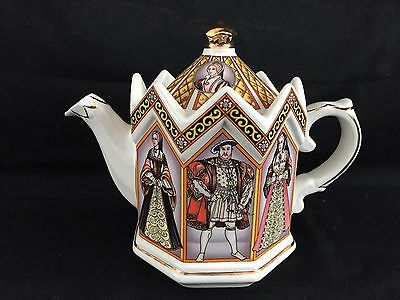 """Sadler Staffordshire England King Henry VIII and His Six Wives Teapot 6"""" tall"""