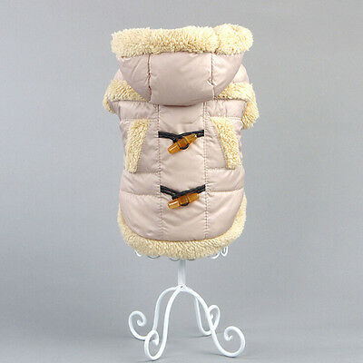 Small Large Dog Pet Winter Warm Coat Puppy Padded Thermal Coat Jacket Beige M