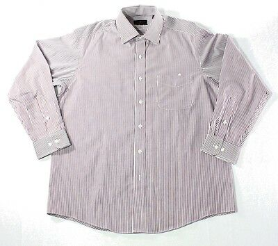 Club Room NEW Red Men's Size 16 Striped Buttoned Down Dress Shirt $29 105