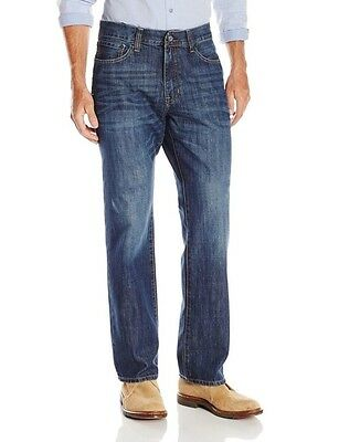 IZOD NEW Medium Vintage Blue Mens 36x34 Relaxed Fit Straight Leg Jeans $59 018