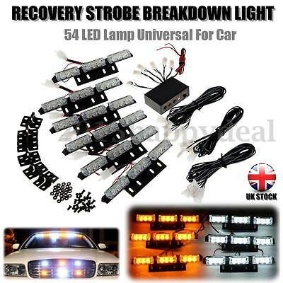 54 Led White + Amber Strobe Recovery Flashing Lights Grill Breakdown Beacon Lamp